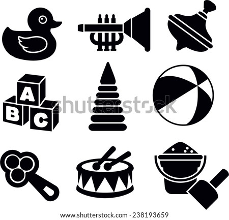 stock-vector-illustration-of-the-nine-different-kind-of-toys-on-white-background-vector-illustration