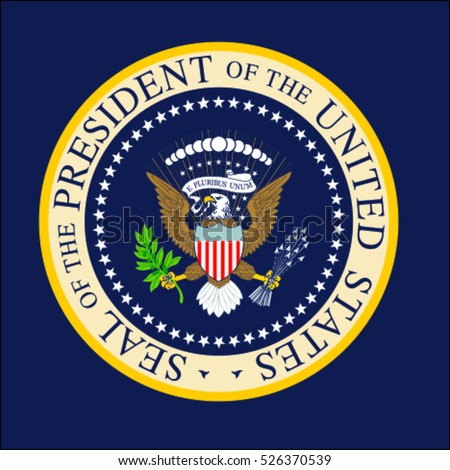 Illustration of the official Seal of the President of the United States. Presidential eagle.