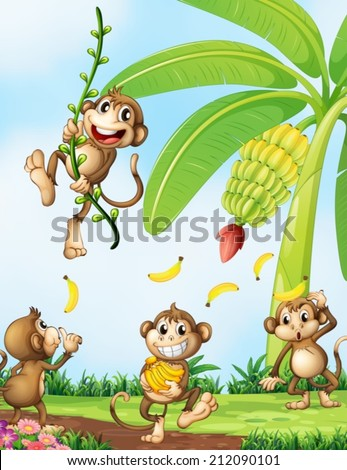 stock-vector-illustration-of-the-playful-monkeys-near-the-banana-plant