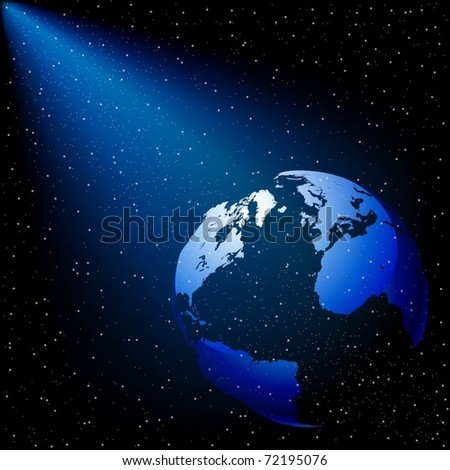 Illustration of the ray of light in space with planet Earth. Vector. Eps 10.