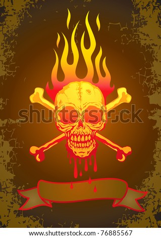 Illustration of the skull in flames with the blood flowing