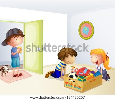illustration of the three kids