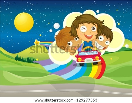Illustration of the three kids riding on a car passing over the rainbow