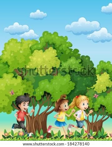 Illustration of the three kids running outdoor