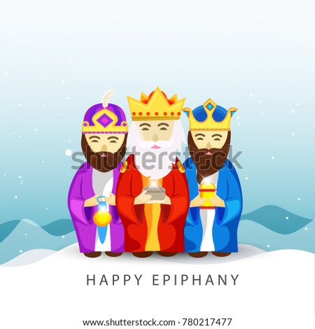 Illustration Of The Three Magic King For Happy Epiphany Day Background.