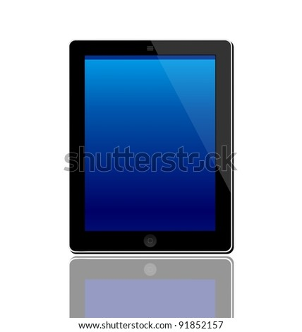 Illustration of the turned on computer tablet with reflection isolated on a white background - vector