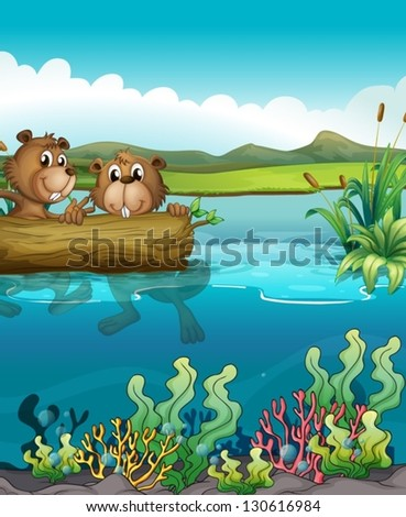Illustration of the two beavers playing in the lake