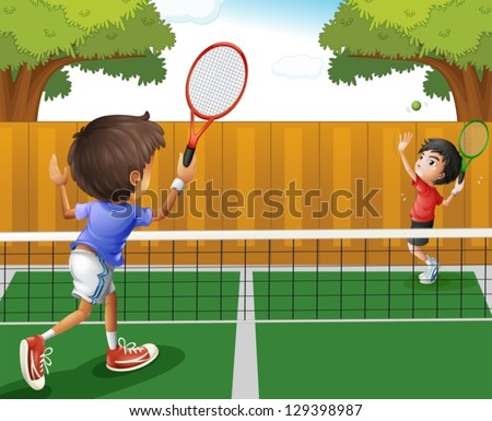 stock-vector-illustration-of-the-two-boys-playing-tennis