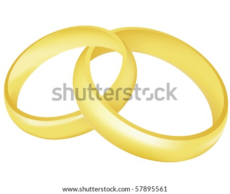 stock vector Illustration of the two gold wedding rings over white
