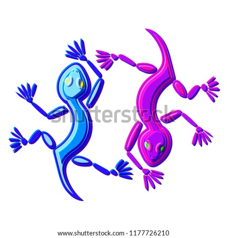 illustration of the two lizards