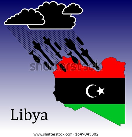Illustration of the war in Libya, a thunderous black cloud is approaching the country of Libya. It begins to rain and attack rockets and cannon shells. In the colors of the national flag