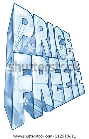 Illustration of the words price freeze like a big frozen ice cube to market a sale. With snowflakes falling in foreground.