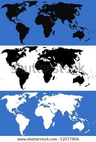 illustration of the world map in black, white and blue - stock vector