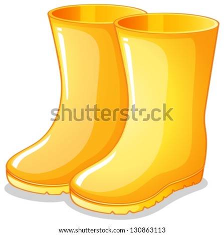 vector cartoon style illustration of yellow rubber boots icon for