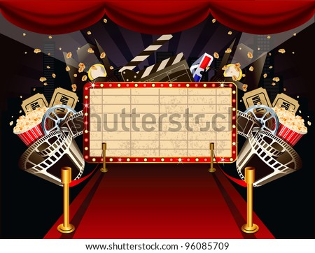 Illustration of theatre marquee with movie theme objects