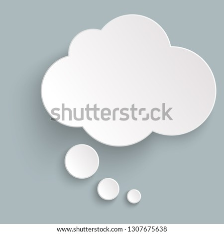 illustration of thought bubble with shadow looking like sticker