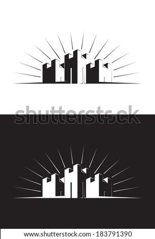 illustration of three castle