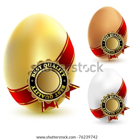 Illustration of three chicken eggs with a ribbon and sign of quality. Vector.