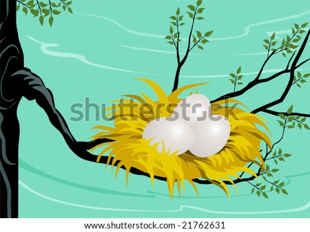Illustration of three Easter eggs in a nest with green background	 - stock vector