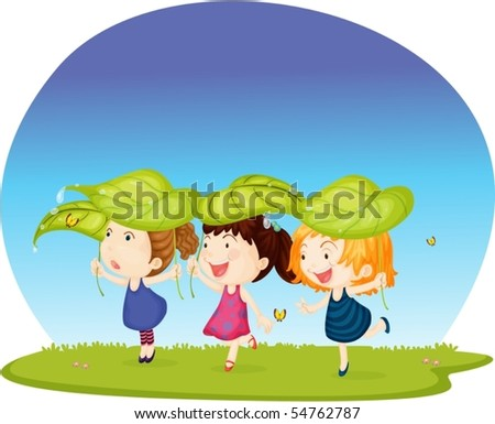 Illustration of three girls protecting from rain on white background