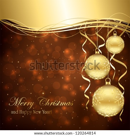 Illustration of three gold Christmas balls on a brown background.