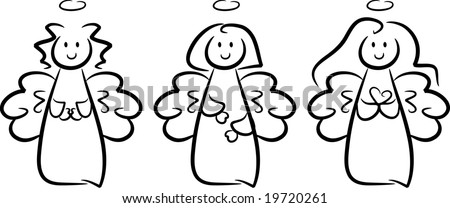 Illustration of three happy little angel girls: one of them folding her hands in a praying gesture, one of them holding a heart in her hands; isolated (vector)