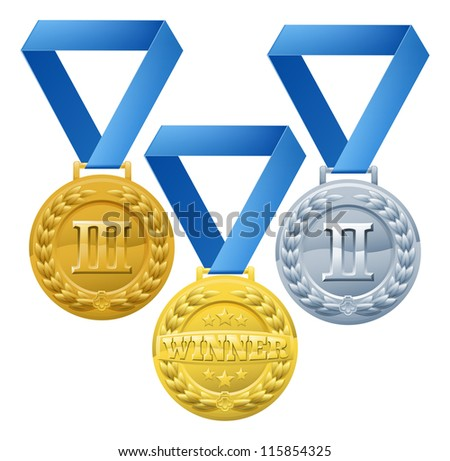 Illustration of three medals on blue ribbons. Bronze silver and gold winners awards