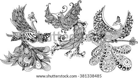 illustration of three phoenix