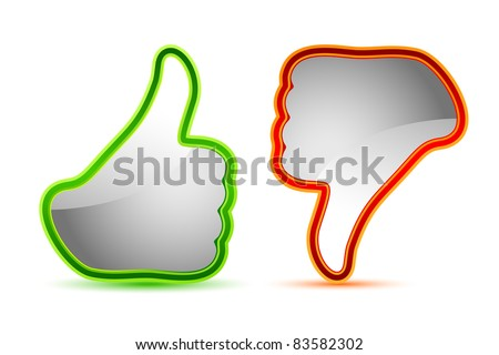 illustration of thumbs up and down gesture icon
