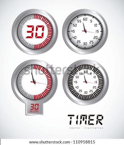 illustration of timers with different times, vector illustration