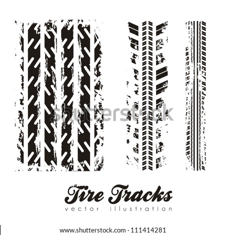 illustration of tire marks on white background, vector illustration