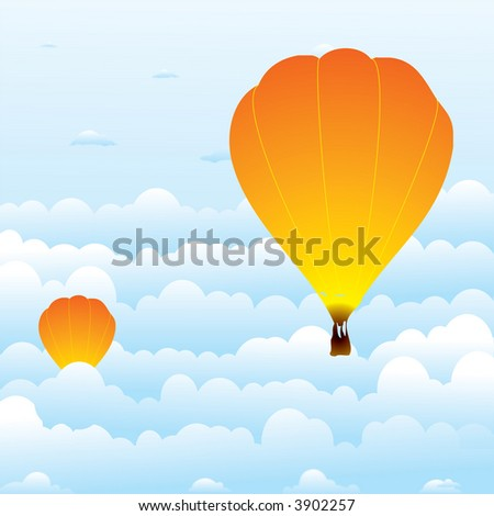 Illustration of to hot air balloons rising through the clouds