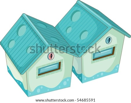Illustration of toilet for women and men on white background