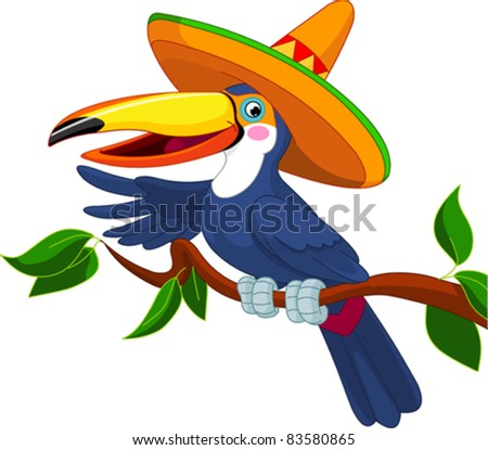Illustration of toucan with sombrero sitting on tree branch