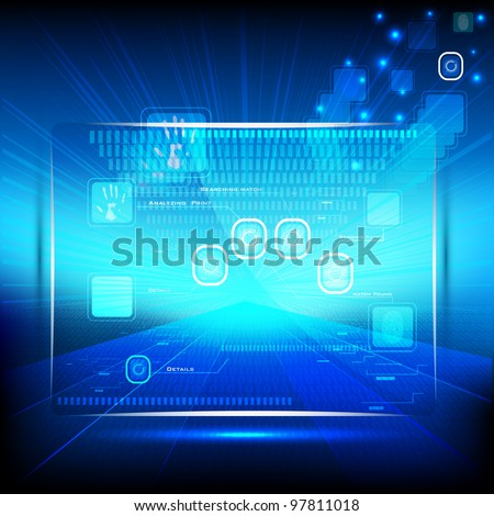 illustration of touch screen on hi-tech futuristic background