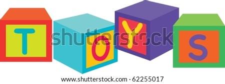 illustration of toys blocks on a white background