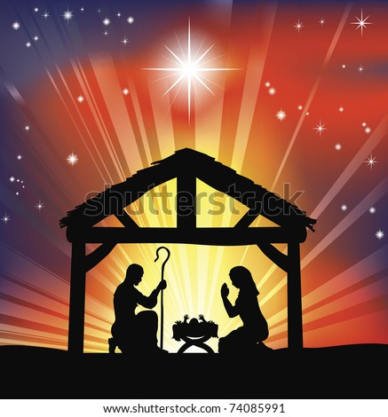 Illustration of traditional Christian Christmas Nativity scene