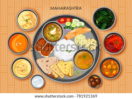 illustration of Traditional Maharashtrian cuisine and food meal thali of Maharashtra India