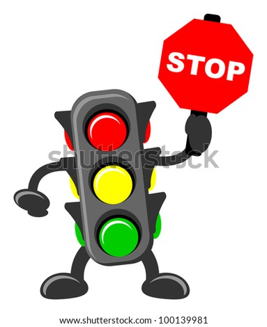 illustration of traffic light cartoon with traffic sign