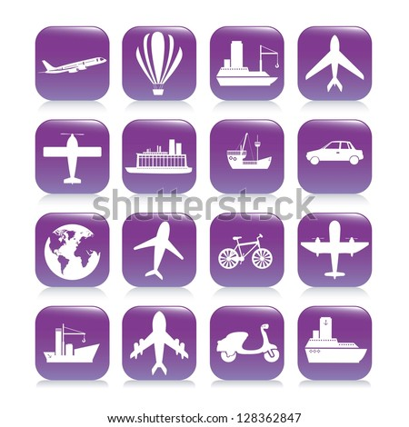 Illustration of transport icons. Silhouettes of transport icons. vector illustration
