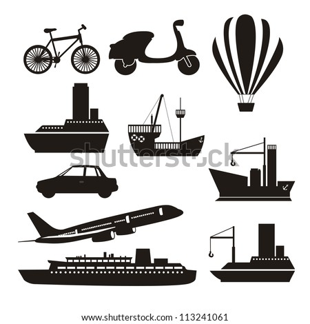 Illustration of transportation icons, land, air and water, vector illustration