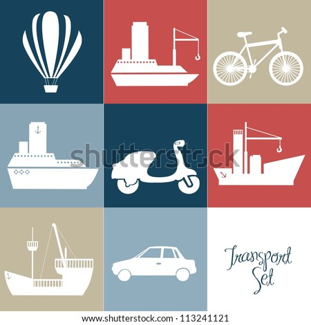 Illustration of transportation icons squares, vector illustration