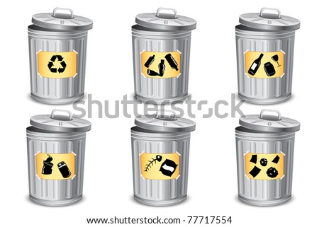 illustration of trash bin for different type of garbage