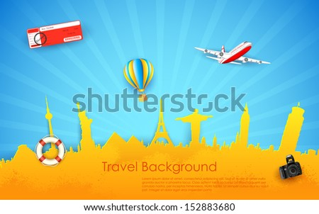 illustration of travel background with monument and airplane