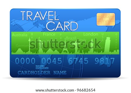 illustration of travel card with world famous monument