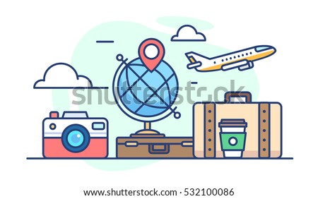 illustration of travel. Globe with pin, camera, bags of coffee and the plane in the clouds on a white background in flat style
