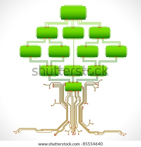 illustration of tree made of chip and electronic circuit