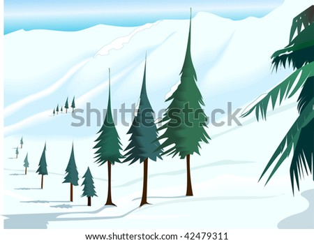 Illustration of trees with dessert background