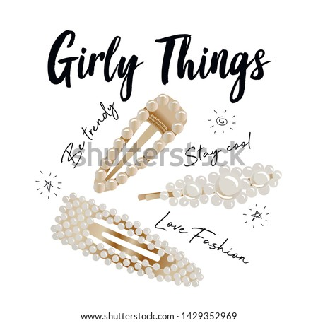 Illustration of trendy pearl hairclips for t-shirt design and print.