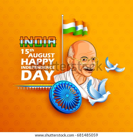 illustration of Tricolor India background with Nation Hero and Freedom Fighter Mahatma Gandhi for Independence Day or Gandhi Jayanti Foto stock ©